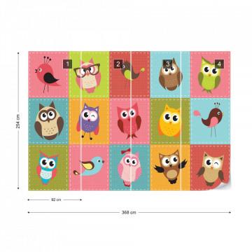 Kid'S Cartoon Owls Photo Wallpaper Wall Mural
