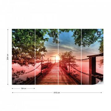 Lake Pier Red Sunset Photo Wallpaper Wall Mural