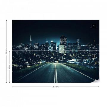 Late Night City Skyline Photo Wallpaper Wall Mural