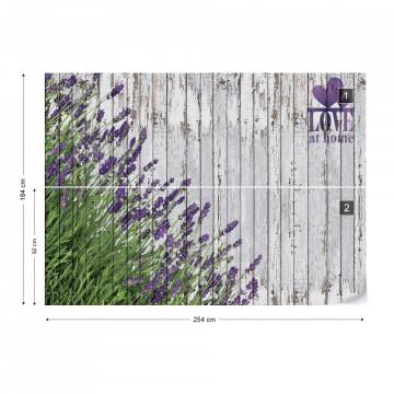 Lavender Rustic Wood Planks Love Vintage Design Photo Wallpaper Wall Mural