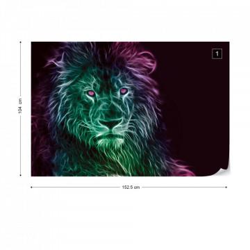 Lion Modern Light Painting Photo Wallpaper Wall Mural