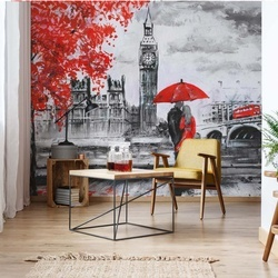 London Red Black White Art Painting Photo Wallpaper Wall Mural