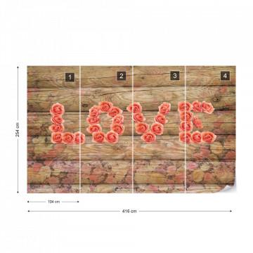 Love Roses Wood Texture Photo Wallpaper Wall Mural