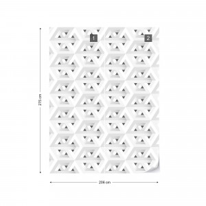 Modern 3D White And Grey Cube Pattern Photo Wallpaper Wall Mural