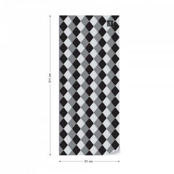 Modern Black And White Diamond Pattern Photo Wallpaper Wall Mural