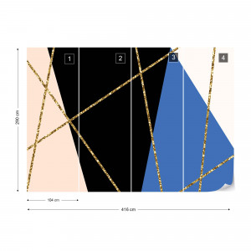 Modern Geometric Design Black Blue Photo Wallpaper Wall Mural
