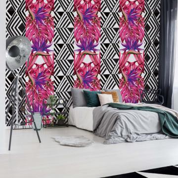 Modern Tropical Pattern Pink Photo Wallpaper Wall Mural