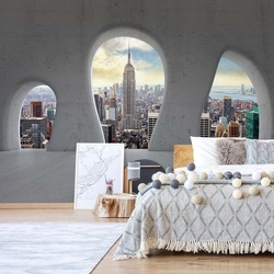 New York City 3D Concrete Arches View Photo Wallpaper Wall Mural