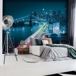 New York City Brooklyn Bridge Lights Photo Wallpaper Wall Mural