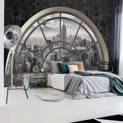 New York City Skyline Penthouse Window View Photo Wallpaper Wall Mural