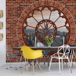 New York Ornamental Window View Brick Wall Photo Wallpaper Wall Mural