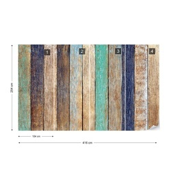 Old Painted Wood Planks Texture Photo Wallpaper Wall Mural