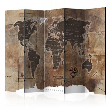 Paravan - Room divider – Map on the wood