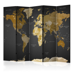 Paravan - Room divider - World map on dark background
