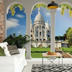 Paris Sacre Coeur 3D Archway View Photo Wallpaper Wall Mural