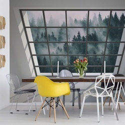 Penthouse Window Misty Forest View