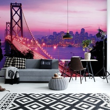 Pink And Purple City Skyline Golden Gate Bridge Photo Wallpaper Wall Mural
