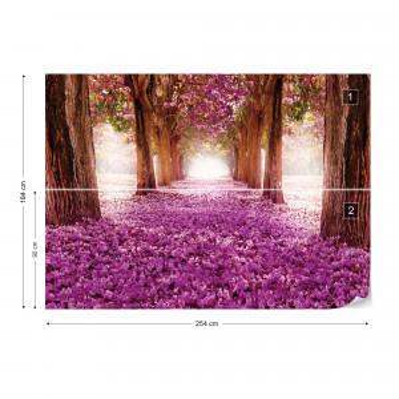 Pink Trees Path Photo Wallpaper Wall Mural