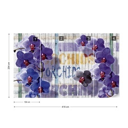Purple Orchids Flowers Wooden Planks Background Photo Wallpaper Wall Mural