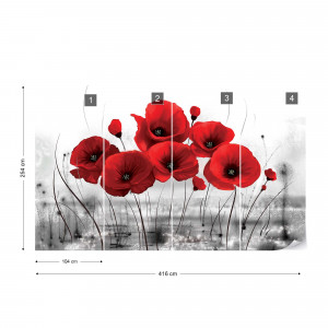 Red Poppies Photo Wallpaper Wall Mural