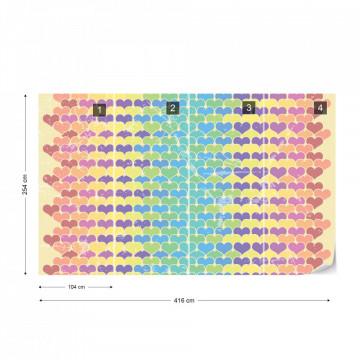 Retro Hearts Pattern Colourful Photo Wallpaper Wall Mural