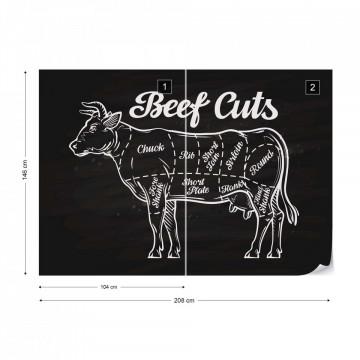 "Retro Poster ""Beef Cuts"" Photo Wallpaper Wall Mural"