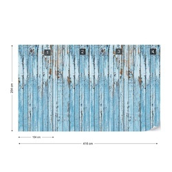 Rustic Painted Blue Wood Planks Texture Photo Wallpaper Wall Mural