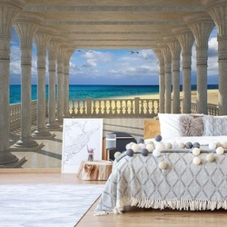 Sandy Beach View Through Columns Photo Wallpaper Wall Mural