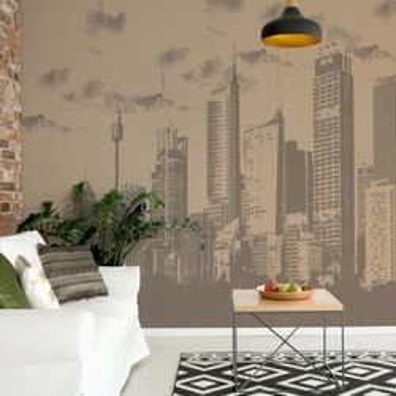 Sepia City Skyline Photo Wallpaper Wall Mural