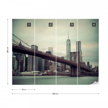 Sepia New York City Skyline Brooklyn Bridge Photo Wallpaper Wall Mural