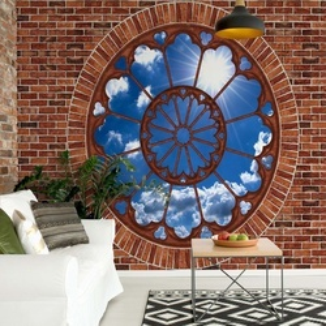 Sky Ornamental Window View Brick Wall Photo Wallpaper Wall Mural