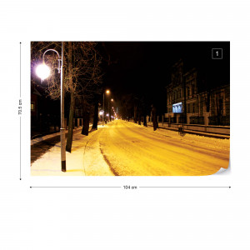 Snowy City At Night Photo Wallpaper Wall Mural