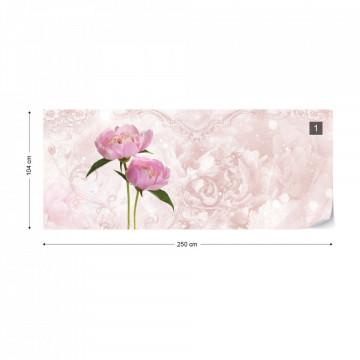 Soft Flowers Pink Modern Floral Photo Wallpaper Wall Mural