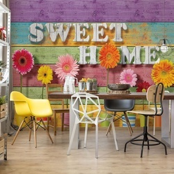 "Sunny Flowers And Colourful Wood Planks ""Sweet Home"" Photo Wallpaper Wall Mural"