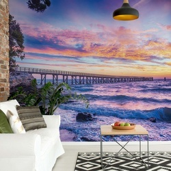 Sunset Beach Pier Photo Wallpaper Wall Mural