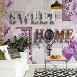 Sweet Home Flowers Vintage Design Purple Photo Wallpaper Wall Mural