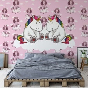 Sweet Unicorns Pink Photo Wallpaper Wall Mural