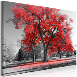 Tablou - Autumn in the Park (1 Part) Wide Red