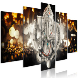 Tablou - Buddha's Philosophy (5 Parts) Silver Wide