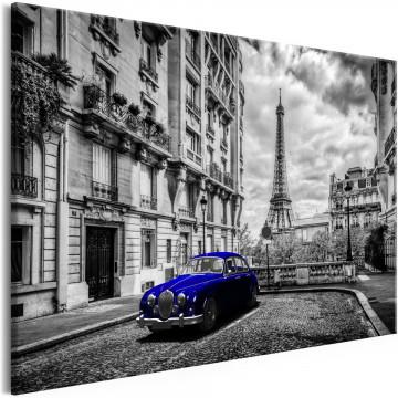 Tablou - Car in Paris (1 Part) Blue Wide