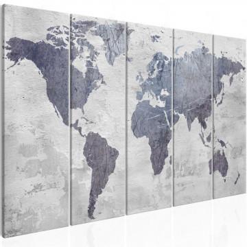 Tablou - Concrete World Map (5 Parts) Narrow