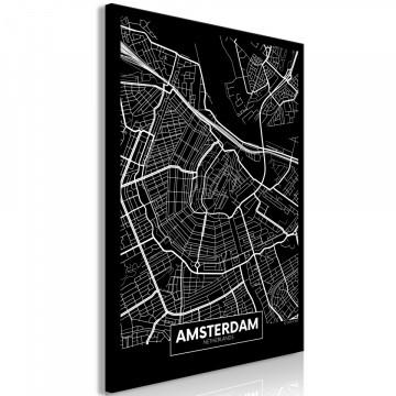 Tablou - Dark Map of Amsterdam (1 Part) Vertical