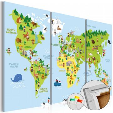 Tablou din plută - Children's World [Cork Map]
