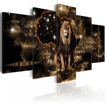Tablou - Golden Lion (5 Parts) Wide
