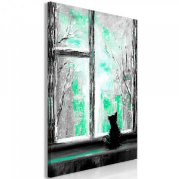 Tablou - Longing Kitty (1 Part) Vertical Green