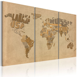 Tablou - Old map of the World - triptych