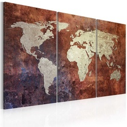 Tablou - Rusty map of the World - triptych