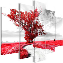 Tablou - Tree near the Road (5 Parts) Red