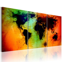 Tablou - World map - colorful oceans