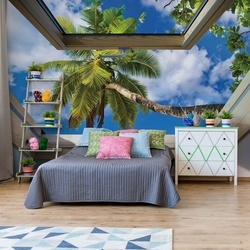 Tropical Beach 3D Skylight Window View Photo Wallpaper Wall Mural